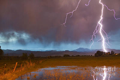 Lightning Striking Longs Peak Foothills 5 Poster by James BO  Insogna