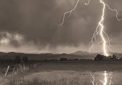 Lightning Striking Longs Peak Foothills 5bw Sepia Poster by James BO  Insogna