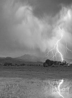 Lightning Striking Longs Peak Foothills 7cbw Poster