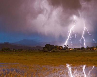 Lightning Striking Longs Peak Foothills 8c Poster by James BO  Insogna