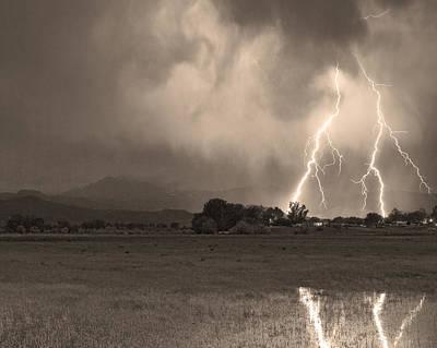 Lightning Striking Longs Peak Foothills 8c Sepia Poster by James BO  Insogna