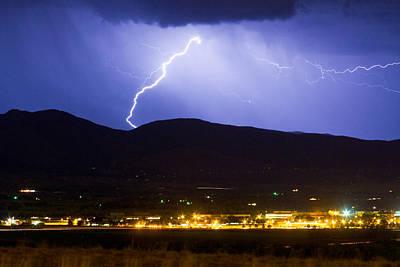 Lightning Striking Over Ibm Boulder Co 1 Poster by James BO  Insogna