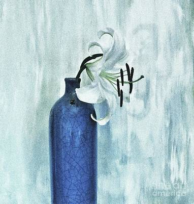 Lily In Blue Poster by Marsha Heiken