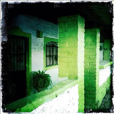 Lime Green & White House (puerto Poster