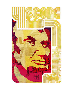 Lincoln 4 Score On White Poster by Jeff Steed