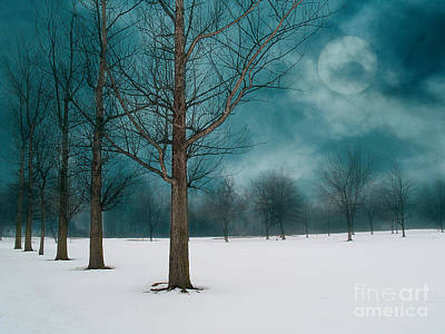 Line Of Trees Border A Snowy Field With A Rising Moon In A Cloudy Sky.  Poster by Emilio Lovisa
