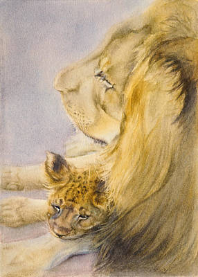 Poster featuring the painting Lion And Cub by Bonnie Rinier