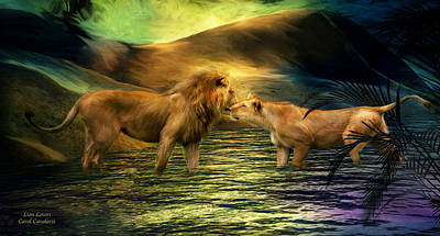Lion Lovers Poster by Carol Cavalaris