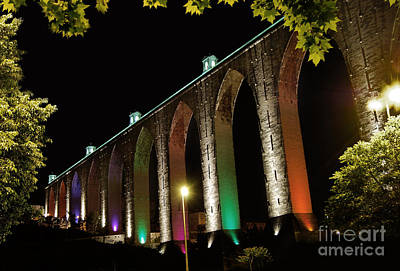 Lisbon Historic Aqueduct By Night Poster