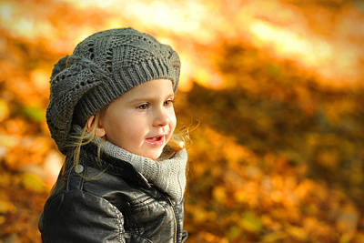 Little Girl In Autumn Leaves Scenery At Sunset Poster by Waldek Dabrowski