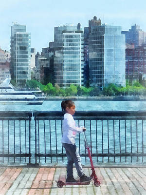 Little Girl On Scooter By Manhattan Skyline Poster by Susan Savad