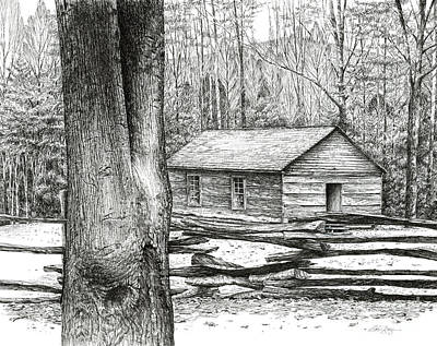 Poster featuring the drawing Little Greenbrier School House by Bob  George
