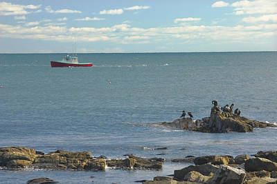 Lobster Boat Working Off Rocky Seawall Beach Acadi National Park Photo Poster
