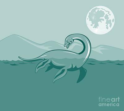 Loch Ness Monster Retro Poster by Aloysius Patrimonio