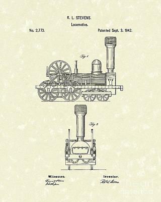 Locomotive 1842 Patent Art Poster by Prior Art Design