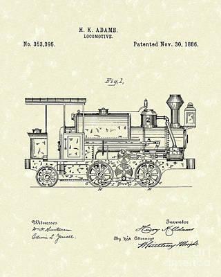 Locomotive 1886 Patent Art Poster by Prior Art Design