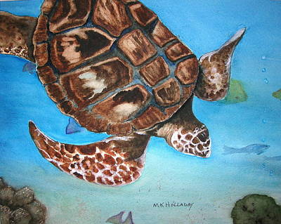 Poster featuring the painting Loggerhead Turtle by Mary Kay Holladay