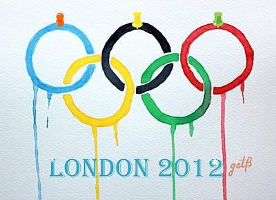 London 2012 Summer Olympics Logo Watercolor Poster by Georgeta  Blanaru