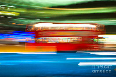 Poster featuring the photograph London Bus Motion by Luciano Mortula