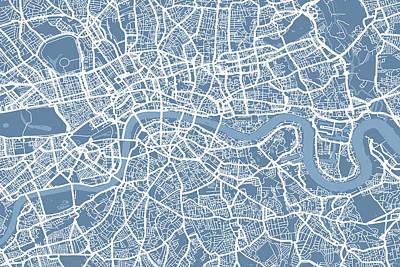 London Map Art Steel Blue Poster by Michael Tompsett