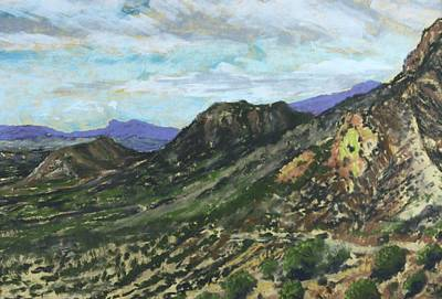 Poster featuring the painting Lone Mountain by Drusilla Montemayor
