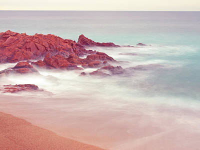 Long Exposure Shot At Beach With Soft Tones Poster