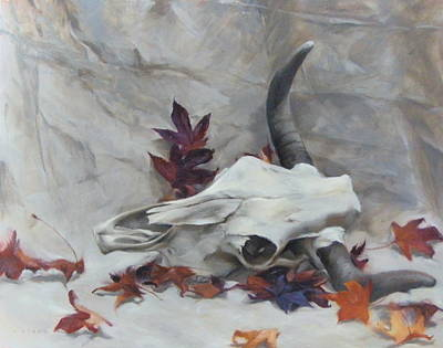 Longhorn With Leaves Poster
