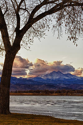 Longs Peak And Mount Meeker Across The Lake Sunset View Poster by James BO  Insogna