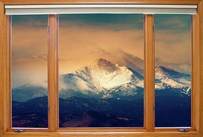 Longs Peak And Mount Meeker Wood Window View Poster by James BO  Insogna
