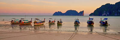 Longtail Boats On Beach At Sunset Poster by Image by Ben Engel