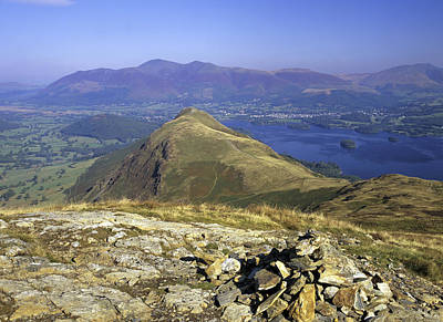 Looking Down Onto Catbells From Maiden Moor With Derwentwater And Skiddaw In The Background, Lake District, Cumbria, England Poster by Keith Wood
