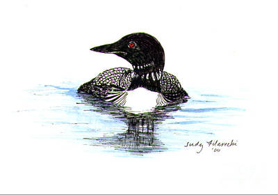 Loon Swim Judy Filarecki Watercolor Poster by Judy Filarecki