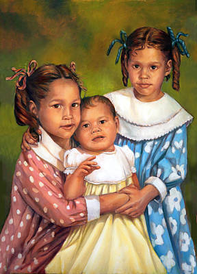 Poster featuring the painting Loretta And Her Sisters by Nancy Tilles