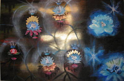 Poster featuring the mixed media Lotuses In Muddy Waters by Diana Riukas