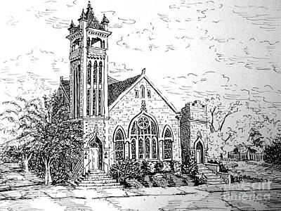 Poster featuring the drawing Louisianna Church 1 by Gretchen Allen
