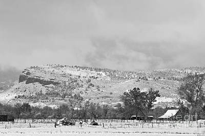 Low Winter Storm Clouds Colorado Rocky Mountain Foothills 7 Bw Poster by James BO  Insogna