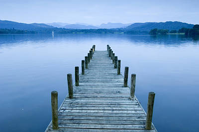 Low Wood Hotel Jetty On Lake Windermere In The Lake District, Lake Windermere, Cumbria, England Poster