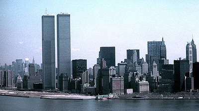 Lower Manhattan Island With Twin Towers Poster