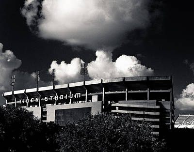 Lsu Tiger Stadium Black And White Poster