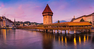 Lucerne - Chapel Bridge Pastels Poster by John and Tina Reid