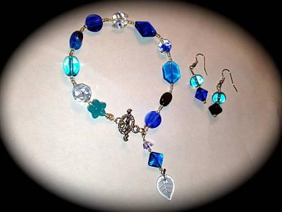 Lucky Blue Bracelet And  Earringa Poster
