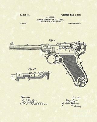 Luger Handgun 1904 Patent Art Poster by Prior Art Design