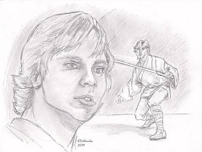 Poster featuring the drawing Luke Skywalker - Farmboy by Chris  DelVecchio