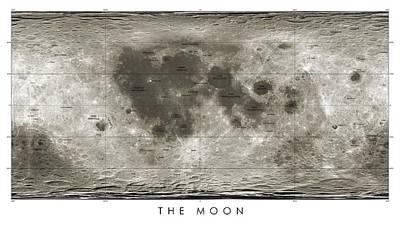 Lunar Map Poster by Detlev Van Ravenswaay