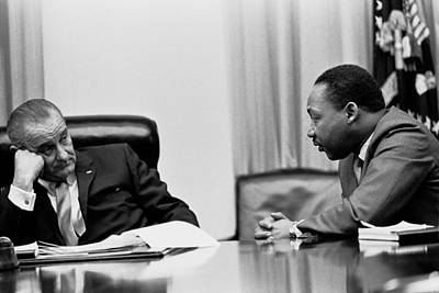 Lyndon Johnson Listening To Martin Poster by Everett