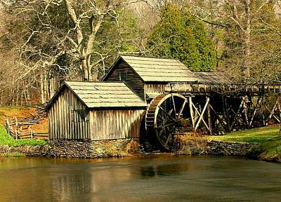 Poster featuring the photograph Mabry Mill In Winter by Myrna Bradshaw