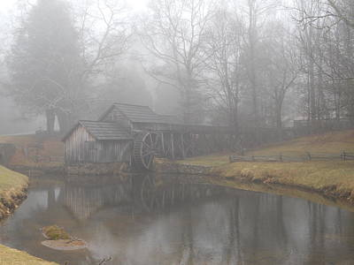 Poster featuring the photograph Mabry Mill On A Foggy Day by Diannah Lynch
