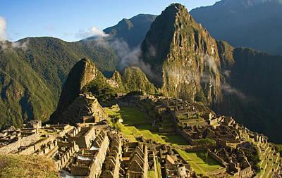 Machu Picchu And Fog In Morning Poster by Matt Champlin