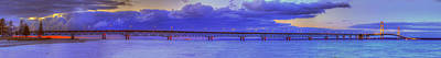 Mackinac Bridge After Sunset Poster by Twenty Two North Photography