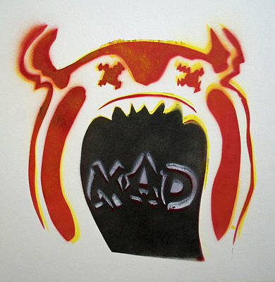 Mad O Rama Mad Red And White Poster by Patricia Arroyo